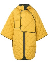 Henrik Vibskov Quilted Oversize Coat Yellow And Orange