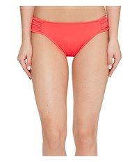 Lauren Ralph Lauren Beach Club Solids Shirred Side Tab Hipster Bottom Neon Coral Women's Swimwear Orange