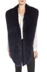 Badgley Mischka Women's Faux Mink Stole Navy