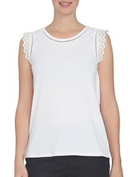 Cynthia Steffe Solid Sleeveless Cutout Top New Ivory
