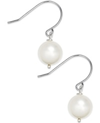 No Vendor Cultured Freshwater Pearl Drop Earrings 9Mm In Sterling Silver