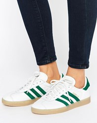 Adidas Originals Leather Gazelle Unisex Trainers With Gum Soles Vintage White Green