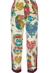 Gucci Grosgrain Trimmed Printed Silk Crepe De Chine Straight Leg Pants Ivory