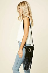 Forever 21 Stud And Fringe Suede Crossbody