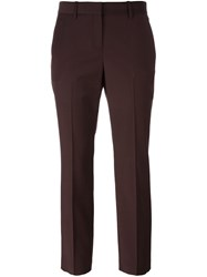 Theory Pleated Cropped Trousers Pink And Purple