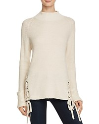 French Connection Freedom Fringe Knits Lace Up Sweater Classic Cream