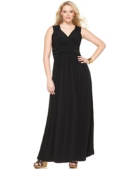 Ny Collection Plus Size Sleeveless Ruched Empire Waist Maxi Dress Black