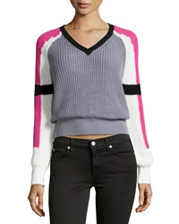 525 America Colorblock V Neck Crop Sweater Pink Combo