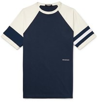 Calvin Klein 205W39nyc Embroidered Striped Cotton Jersey T Shirt Navy