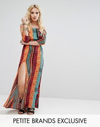 Glamorous Petite Off Shoulder Maxi Dress With Thigh Split In Aztec Print Multi