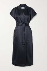Co Belted Duchesse Satin Wrap Dress Navy