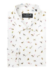 New And Lingwood Pagnell Bird Print Shirt White