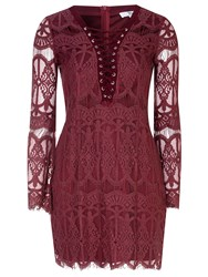 True Decadence Tie Up Lace Dress Purple