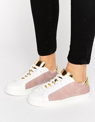 New Look Mixed Velvet Lace Up Trainer Light Pink