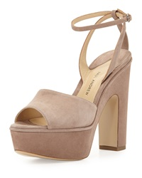 Suede Chunky Heel Platform Sandal Taupe Paul Andrew
