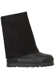 Casadei 120Mm Suede And Leather Wedged Boots