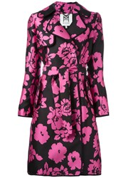Milly Floral Print Trench Coat Black