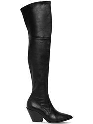 Casadei 60Mm West Stretch Leather Cuissarde Boot Black