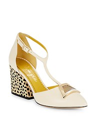 Charlotte Olympia Lillian Leather T Strap Pumps Soft White
