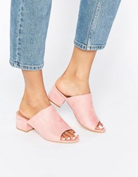 Truffle Collection Mid Heel Mule Pink Micro