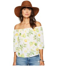 Kensie Lemon Tree Off Shoulder Top Ks6u4009 Citrus Green Combo Women's Clothing Beige
