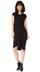 Rick Owens Sleeveless Front Ruched Dress Black