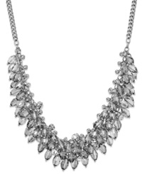 Abs By Allen Schwartz Silver Tone Clear Bead Cluster Frontal Necklace