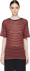 Alexander Wang Orange And Navy Striped T Shirt