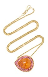 Lauren K Mandarin Garnet And Pink Sapphire Emily Necklace Orange