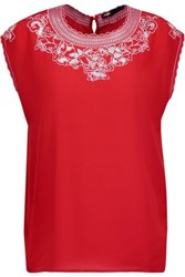 Maje London Broderie Anglaise Paneled Silk Crepe De Chine Top Red