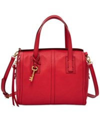 Fossil Emma Leather Satchel Crimson