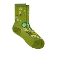 Antipast Floral Print Cotton Blend Mid Calf Socks Green
