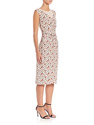 Nina Ricci Fitted Floral Midi Dress Cream