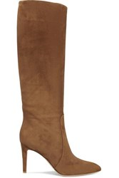 Gianvito Rossi 85 Suede Knee Boots Brown
