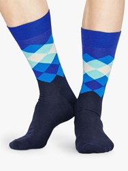 Happy Socks Faded Diamond One Size Navy Blue