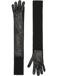 Burberry Cashmere And Lambskin Longline Gloves Black