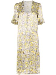 Ganni Swirl Print Midi Dress Yellow