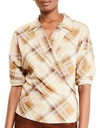 Lauren Ralph Lauren Petite Plaid Crepe Wrap Shirt Multi