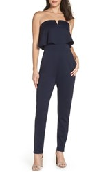 Fraiche By J Strapless Jumpsuit Navy
