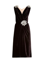 Dolce And Gabbana Crystal Embellished Brocade Velvet Dress Dark Purple