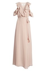 Bb Dakota Don't Call Me Baby Cold Shoulder Wrap Dress Mauve Rose