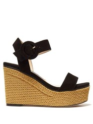 Jimmy Choo Abigail 100 Suede Wedge Sandals Black Gold