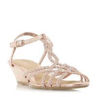 Head Over Heels Kitti Plait Twist Mini Wedge Sandals Nude