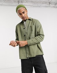 Bershka Shirt With Contrast Stitching In Khaki Green