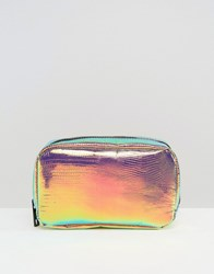New Look Large Holographic Make Up Bag Pink