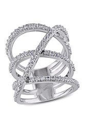 Sterling Silver White Topaz Triple Crisscross Ring Metallic