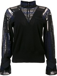 Sacai Calligraphy Embroidered Sweater Black