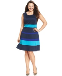Ny Collection Plus Size Sleeveless Ponte Knit Colorblocked A Line Dress Blue Multi