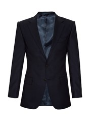 Gieves And Hawkes Notch Lapel Wool Blazer Navy