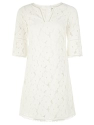 Adrianna Papell Short 3 4 Sleeve Lace Dress Ivory